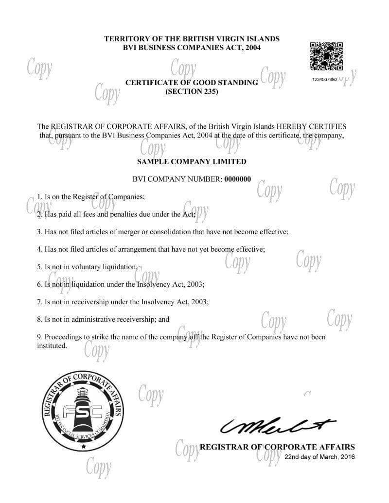 Bvi Company Certificates